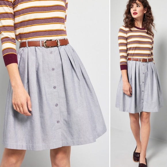 9ef4637023 ModCloth | Living the Dream Gray Chambray Skirt. M_5c7c6ad18ad2f92baece395d